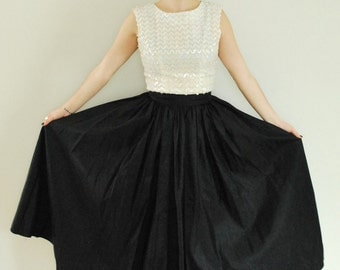 1950's Taffeta Skirt, Long Black Full Skirt, Holiday Party Outfit,  Size-S