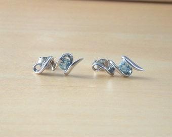 925 Blue Topaz Earrings/925  Blue Topaz Stud Earrings/ Topaz Earrings//Topaz Jewelry/Topaz Jewellery/Topaz Jewelery/November Birthstone