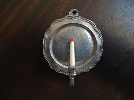 Vintage Signed Miniature Pewter Wall Sconce Doll House