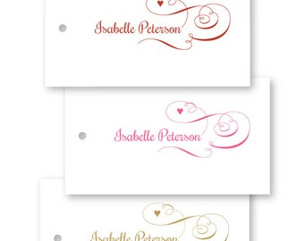 Personalized Valentine Gift Tags, hearts, pink, red, gold, Set of 10
