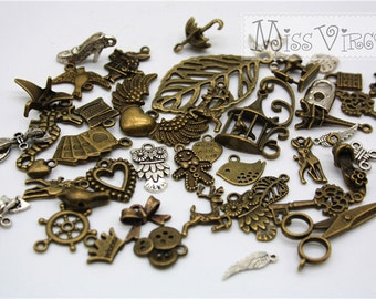 mix lot 20pcs vintage bronze silver charm random pick lucky bag beads cute pendant jewellery making diy craft accessory