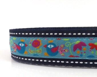 Love BIrds dog collar/ adjustable dog collar/ ribbon dog collar/ martingale dog collar