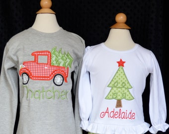 Truck with Christmas Tree Applique Shirt or Onesie Boy or Girl