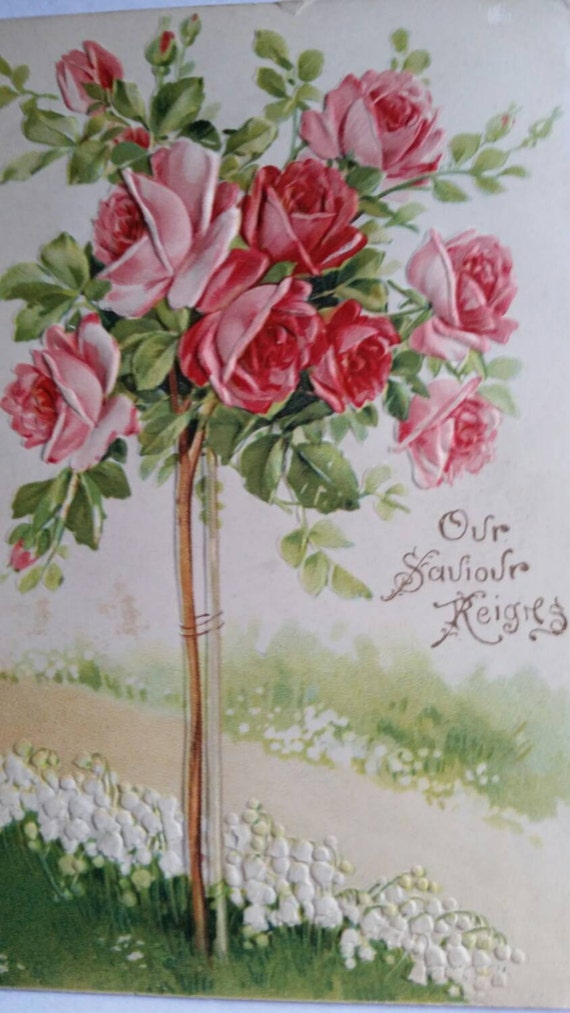 Vintage Embossed Religious Easter Rose Postcard Made in Germany