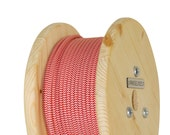 Fabric Cable Electric Textile Cable wire for Lighting Round 2x0.75 Red Chevron Geometric Wooden Reel