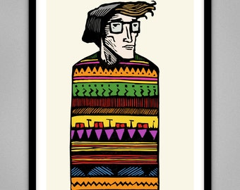 Hipster Pattern - Signed Limited Edition Giclee Print A4 & A3