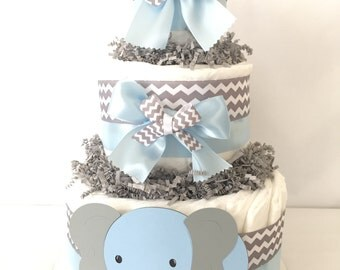 Elephant Diaper Cake (diaper cake-baby shower diaper cakes - unique boy diaper cakes - baby diaper cakes- diaper cakes for boys