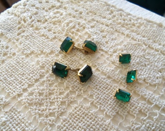 Vintage Emerald Rhinestone Button and Cuff Link Set