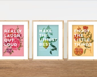 Positive Quote Prints, Set of 3 Prints, Motivational Art, Typography on Vintage Botanical Drawings, Pastel Colours.