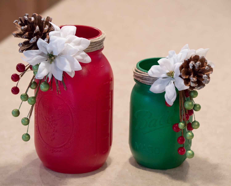 Painted Mason Jars Christmas Decor Twine By WNCarolinaGirl