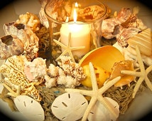 Beach Wedding Centerpiece with Hurricane Glass and Candle, Beach Weddings, Candle Holders, Seashells