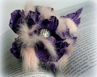 Purple leather flower brooch