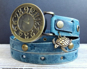 Leather Watch, Women's Watch, Leather Wrap Watch, Ladies watch, Bracelet Watch, Distressed denim blue watch with turtle charm