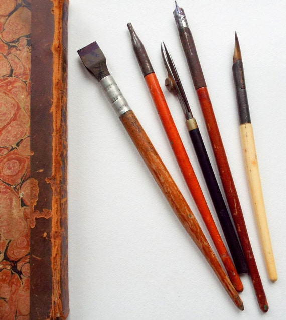 Vintage Dip Pens Calligraphy And Drawing Tools Five Assorted: drawing with calligraphy pens