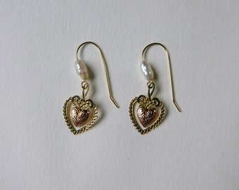 Delicate 14K yellow and rose gold heart and freshwater pearl earrings
