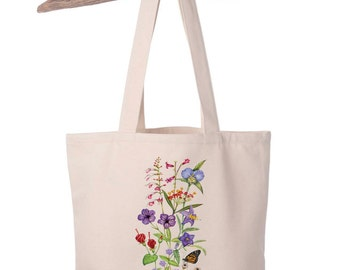 Organic Cotton Canvas Wildflower and Monarch Totebag