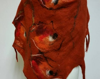Felted scarf, orange, flowers, merino wool,  art fibre, gift idea, made to order, free shipping!
