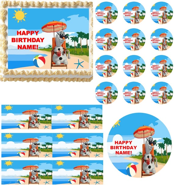 Edible Cake Decorations Beach : Items similar to FROZEN OLAF Summer at the Beach Edible ...