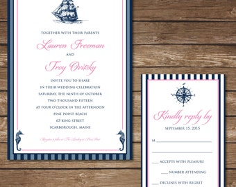 Printable Nautical Wedding Invitation with RSVP Card - Digital File