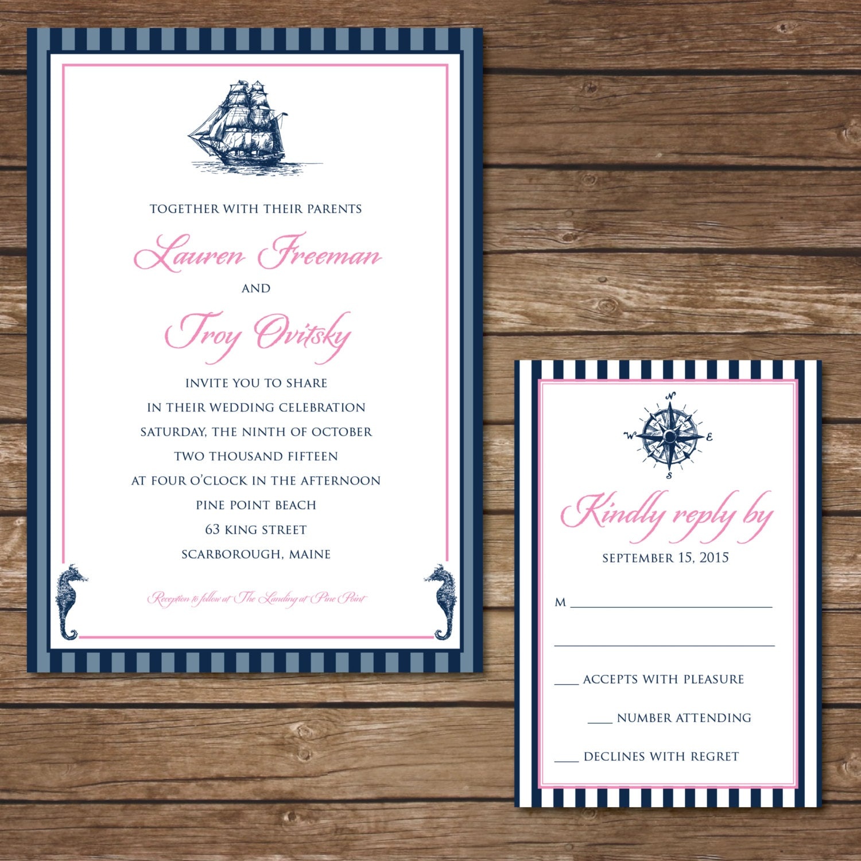 Printable nautical wedding invitation with rsvp card digital for Digital wedding invitations with rsvp