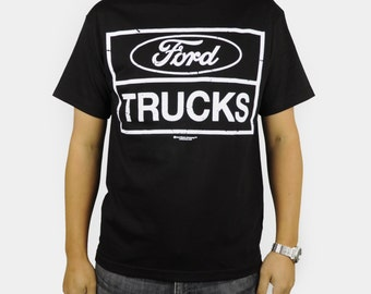 Ford Trucks Built Tough T-Shirt Black Retro Car Auto Logo