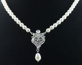 Pearl Bridal Necklace, Crystal and Pearl Wedding Necklace, Wedding Jewelry, Bridal Jewelry LUCY Pearl