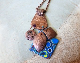 Copper and Blues Pendant