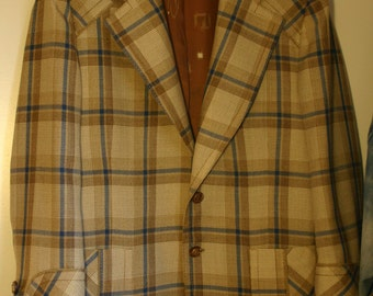 60s to 70s Size 44R Men's Sports Jacket, Oh So Brady Bunch Cool, Fresh From Cleaners, Hipster Plaid Roxbury Brand California Hipster Cool!