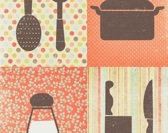 kitchen art print, cooking decor, kitchen decor art print orange