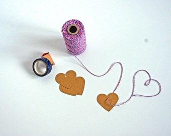 Lot d'étiquettes Kraft Coeur (mariage, cadeaux, DIY) Lot de 10 - 200