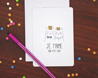 Je t'aime Love French Cat Postcard - Free Shipping! Valentine's Day / Wedding