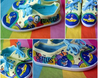Personalized handpainted KIDS shoes, The Beatles shoes, custom sneakers,Yellow Submarine for kids