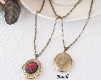 Red Rose Locket Rose Necklace Rose Cameo Locket Flower Necklace Locket Jewelry Photo Locket Bronze Locket Keepsake Gift Mother's Day Gift
