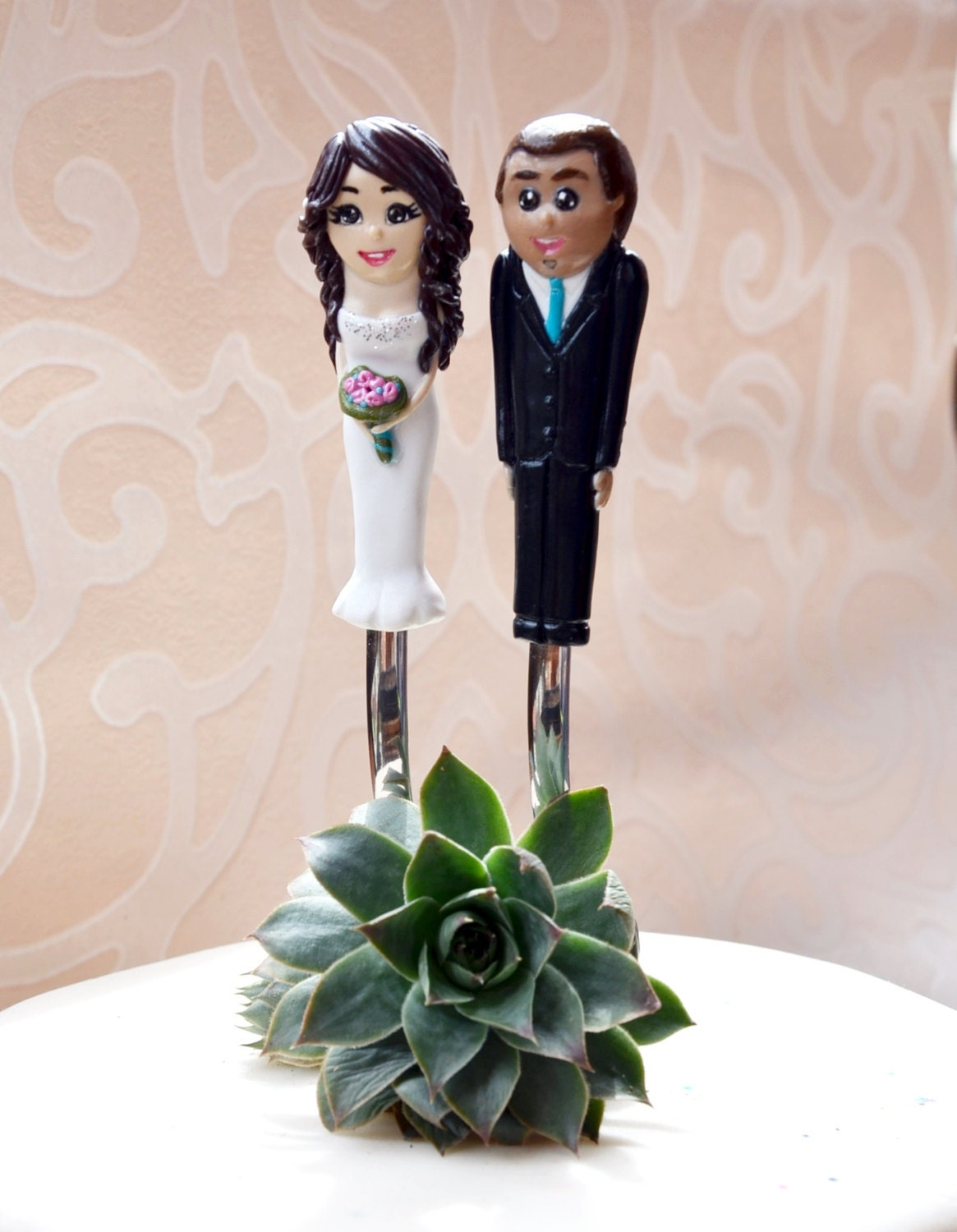 Personalized Wedding Cake Topper and Forks Bride and Groom