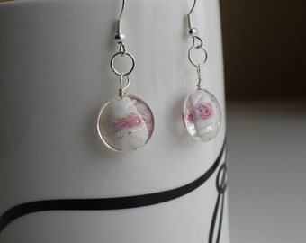 White and pink lampwork glass earrings