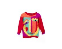 90s mohair sweater / pastel picasso art deco rainbow abstract / womens small