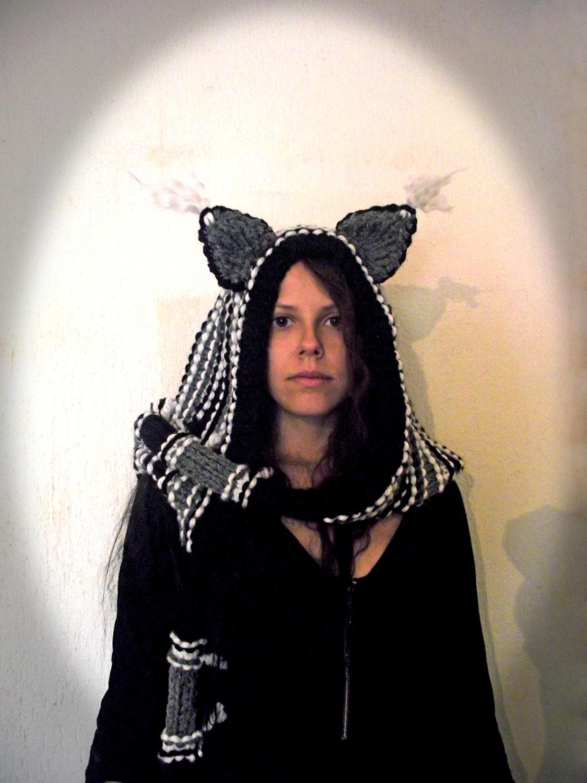 Crochet Cat Ear Scarf Hoodie