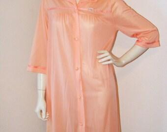 Vintage 1970s Peach button down Nightgown