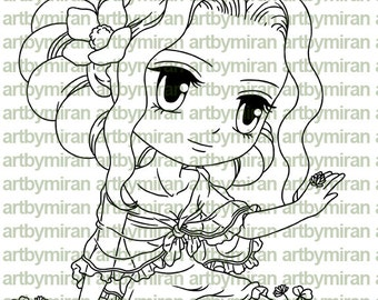 Digital Stamp - Sweet Linda(#200), Digi Stamp, Coloring page, Printable Line art for Card and Craft Supply