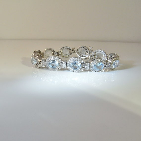 Natural Aquamarine Bracelet Diamond Bracelet Vintage