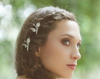 Silver Leaf Branch Bobby Pins Leaf Hair Pins Leaf Hair Clips Bridal Bobby Pins Bridal Hair Clips Woodland Wedding Bridal Hair Accessories
