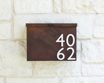 Modern Mailbox with Unique Rust Patina with Brushed Aluminum Address Numbers (Free Shipping)