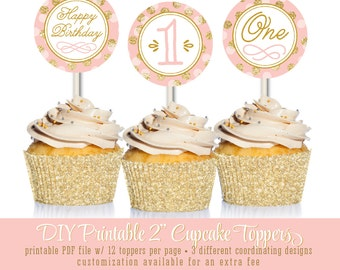 Printable Cupcake Toppers Cake Circles - Girl First Birthday Blush Pink Gold Glitter Confetti Dots - The Big One - INSTANT DOWNLOAD
