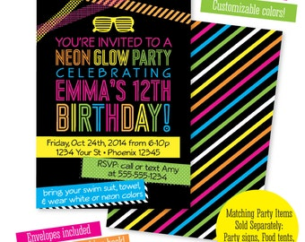 Neon Party Invitations gangcraftnet