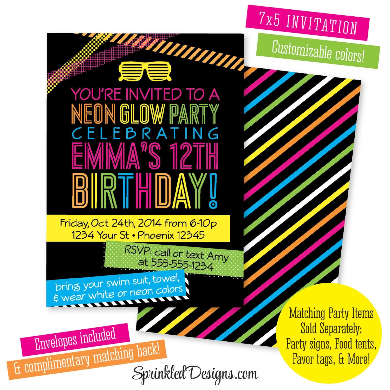 Neon Birthday Party Invitation Teen Teenager Kids Glow In