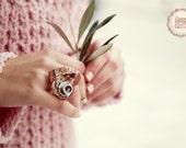 Romantic Vintage Tea Coffee Cup Ring / Dollhouse Miniature / Miniature food jewelry / Food Jewelry / Cheesecake ring / Romantic Jewelry