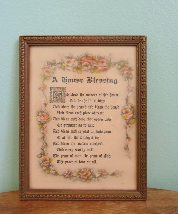 Antique wood framed house blessing with pretty by troutlilyvintage - House warming blessing ...