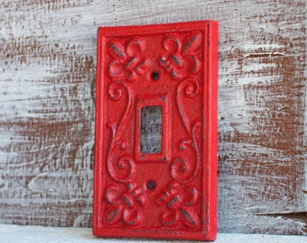 Light Switch Cover, Switchplates, Single Red Switchplate Cover, Switch  Plate Cover Cast Iron