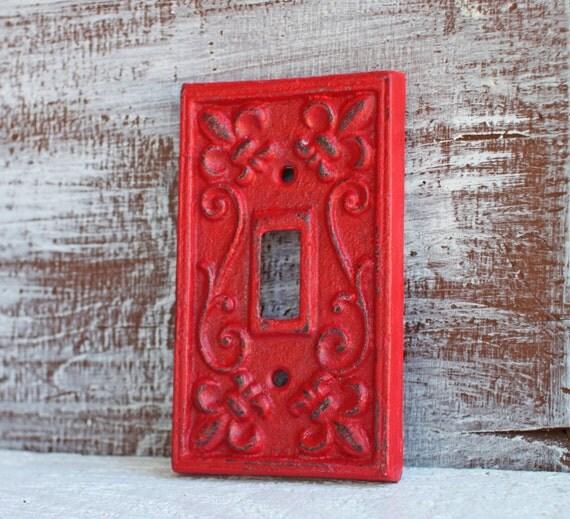 Single light switch plate cover red cast iron fleur de lis