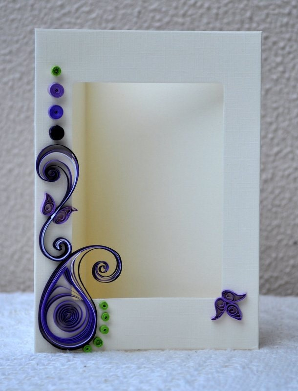 Quilled card paper quilling quilled photo frame blank card for Easy quilling designs step by step